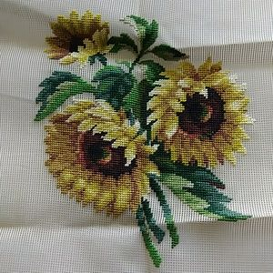 Vintage preworked crewel sunflower bouquet design